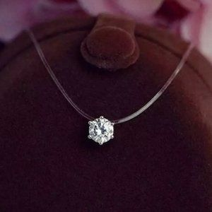 NEW 2CT Solitaire Diamond Invisible Chain Necklace
